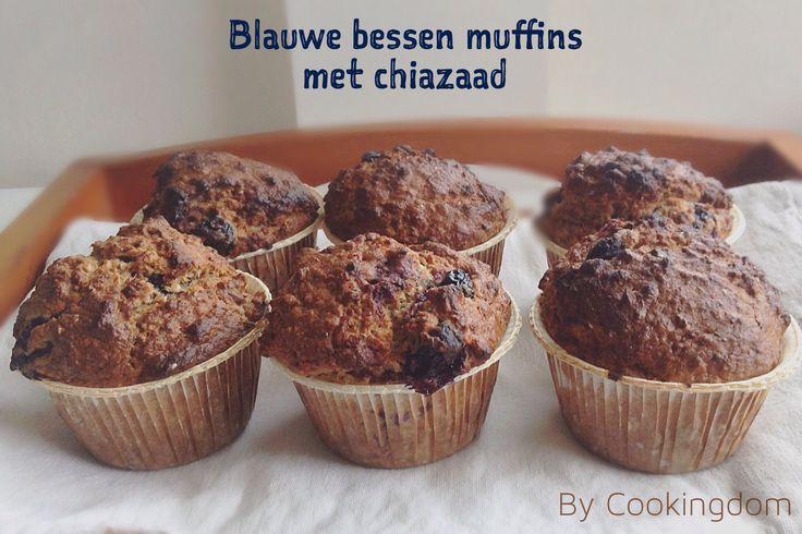 Blauwe bessen muffins met chiazaad By Cookingdom