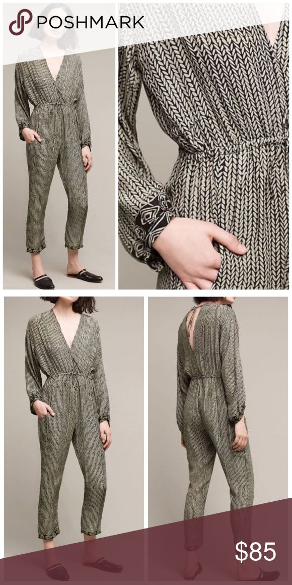 Anthropologie Natalie Martin Claudette Jumpsuit NWT, colors look black with gray print throughout.  A lightweight jumpsuit with a neutral print, relaxed fit and cinched waist. From Natalie Martin. Anthropologie Pants Jumpsuits & Rompers