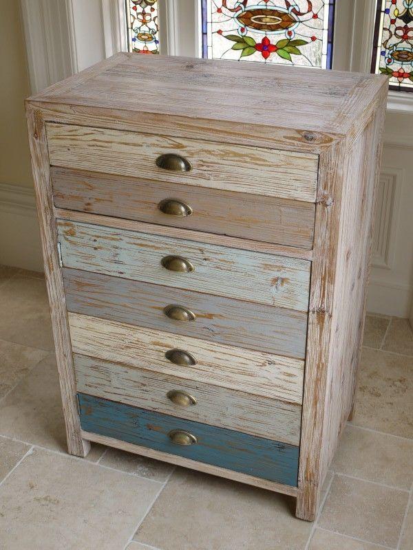 Multi Colour Vintage Industrial Cabinet 2 Drawers Retro