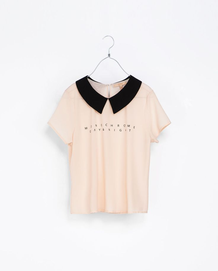 ZARA - TRF - T-SHIRT WITH COLLAR AND TEXT