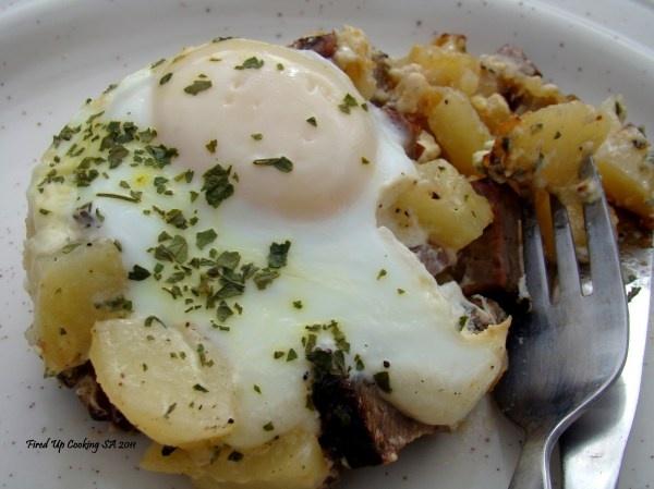 Steak and Potato Baked Eggs - Braai Style