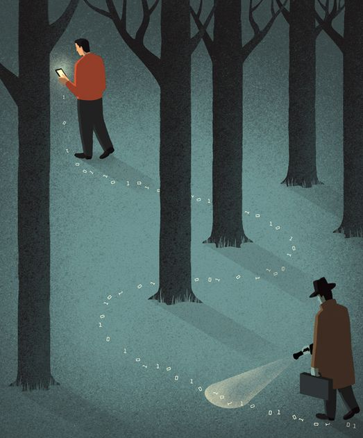 Davide Bonazzi - Security vs. privacy: stealing data. Client: Indiana University magazine. #conceptual #illustration #editorial