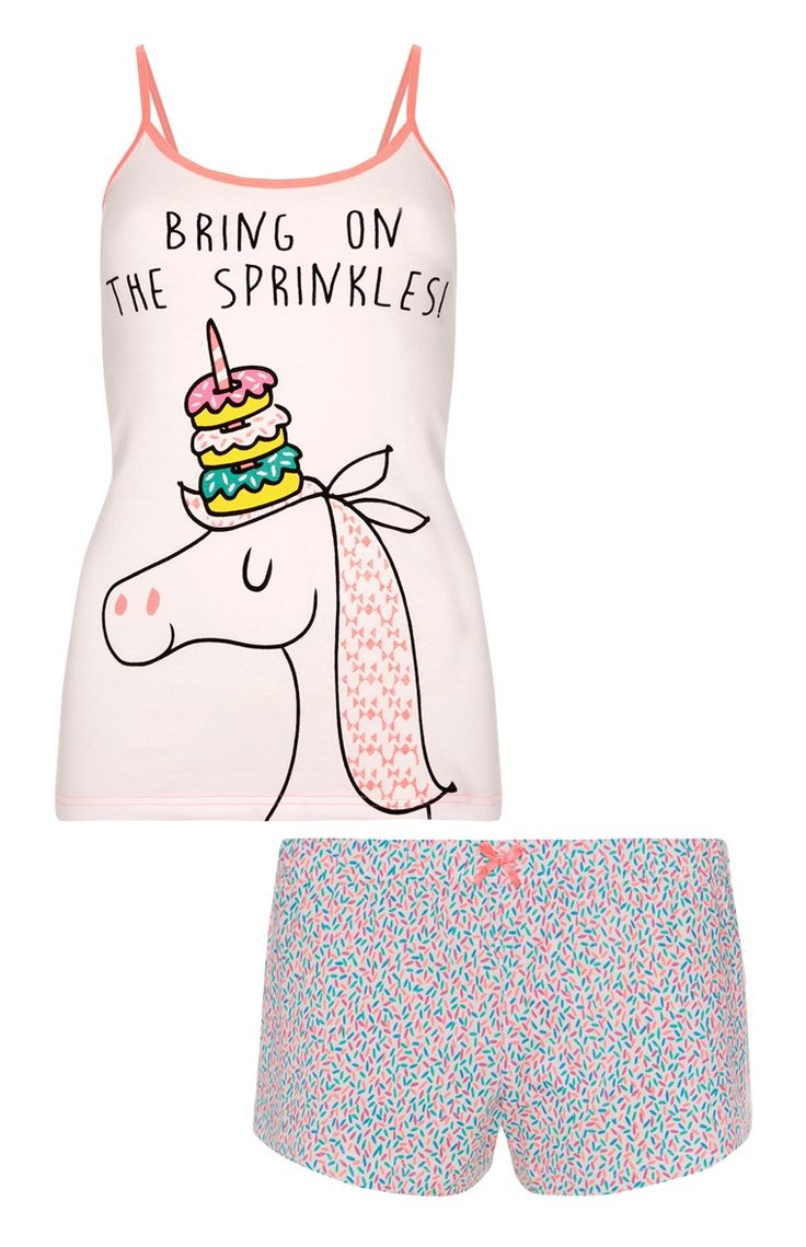 Unicorn Pyjama Cami And Shorts Set