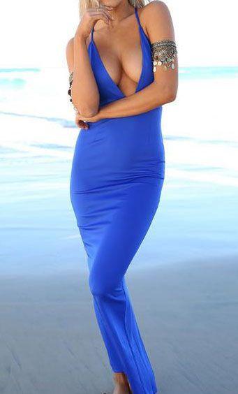 Blue Bodysuit Fishtail Deep Plunge Neck Split Back Bodycon Dress 14.08