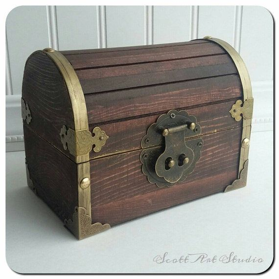 Cofre del tesoro, la caja del tesoro, pecho del pirata, fiesta favor 6 × 4 × 4, personalizados grabados