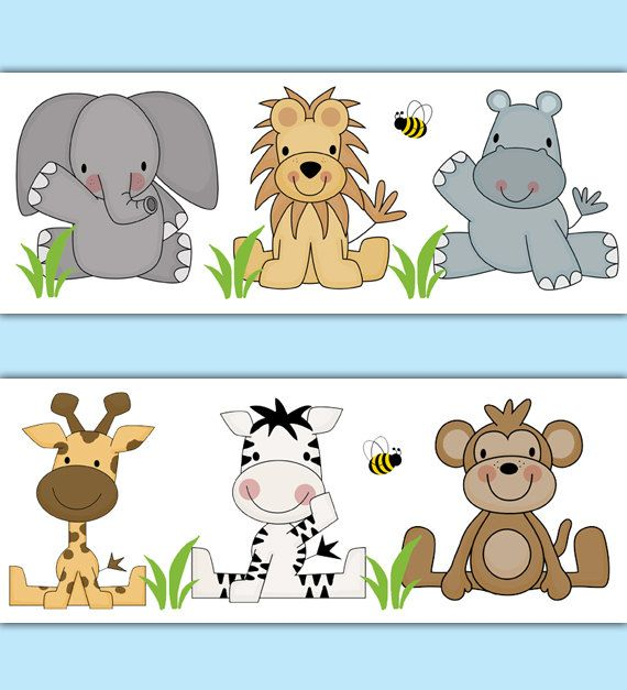SAFARI ANIMAL WALLPAPER Border Decal Jungle Nursery Wall Stickers Baby Boy Room Elephant Monkey Zebra Giraffe Hippo Lion Kids Art Decor