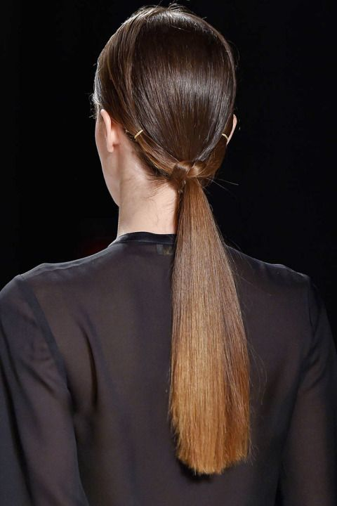 "Fall Hair Trend: the low pony. Anyone reminiscing to the days we wore our ""topsy-turvy"" loop ponies in the '90's?"