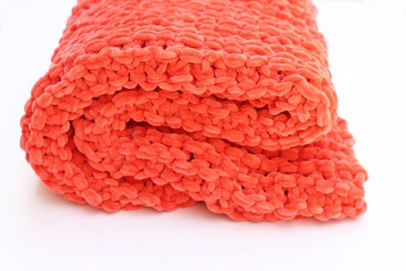 Knitted baby blanket, baby blanket knit, super chunky blanket, knitted orange baby blanket, photography prop, car seat blanket