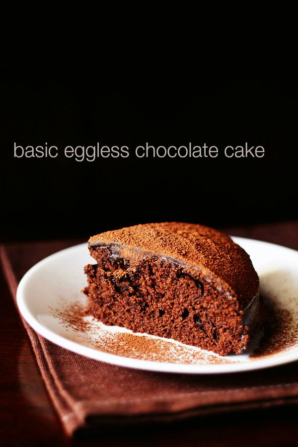 basic eggless chocolate cake recipe made with whole wheat flour. the cake is soft and moist and can be used a base cake for various chocolate frostings.