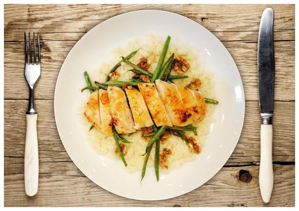 apricot glazed chicken with couscous and lemony green beans glazed ...