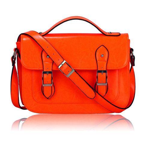 Women's Orange Cross Body Bag/Satchel Shoulder Bag - Satchels and Shoes