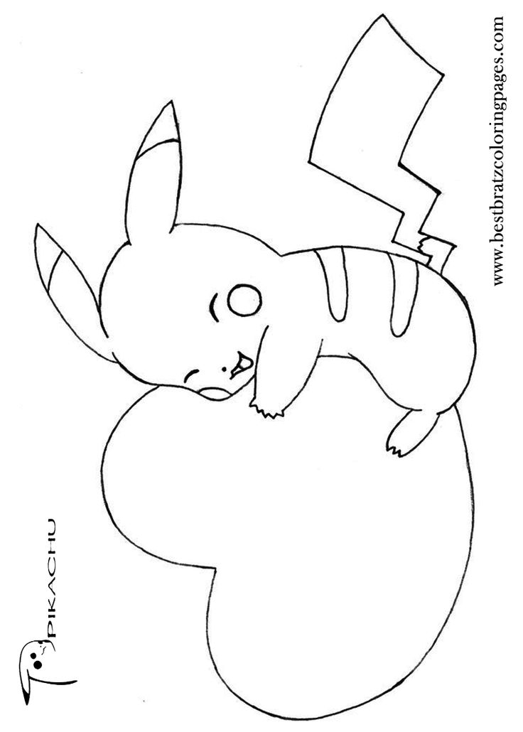 Pikachu Heart Pokemon Heart Pikachu Coloring Pages
