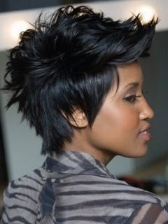 latest afro american short hair styles   Faux hawk spiky pixie style