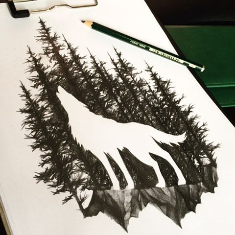 Image result for forest silhouette tattoo