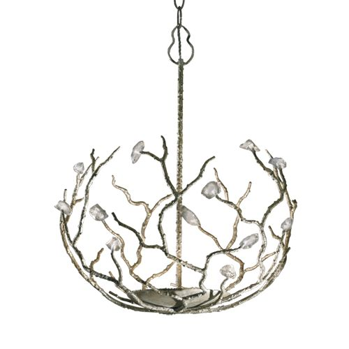 Porta Romana - MCL18L, Blossom Chandelier, Large - Decayed Silver with Glass detail
