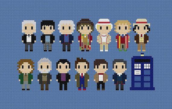 Doctor Who tous médecins motif de point de croix par GeekyStitches, $6.00