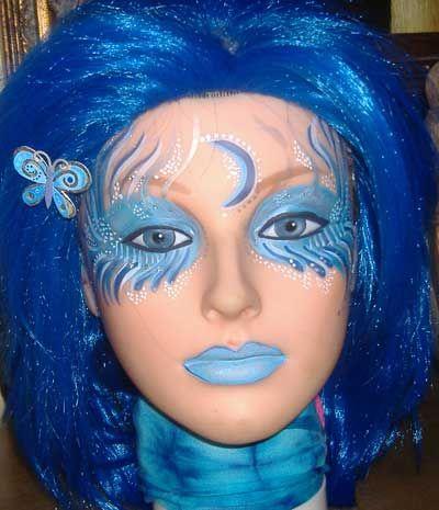 face painted alien blue.hair.angel.alien.face.paint.doll.mannequin