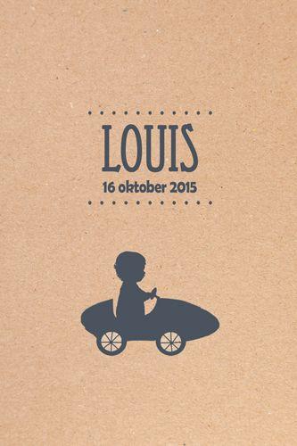 Geboortekaartje Louis - voorkant - Pimpelpluis - https://www.facebook.com/pages/Pimpelpluis/188675421305550?ref=hl (# vintage - retro - karton - jongen - lief - stoer - auto - silhouet - origineel)