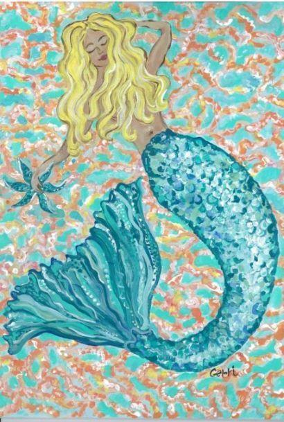 Mermaid Canvas Floor Mat: Beach Decor, Coastal Home Decor, Nautical Decor, Tropical Island Decor