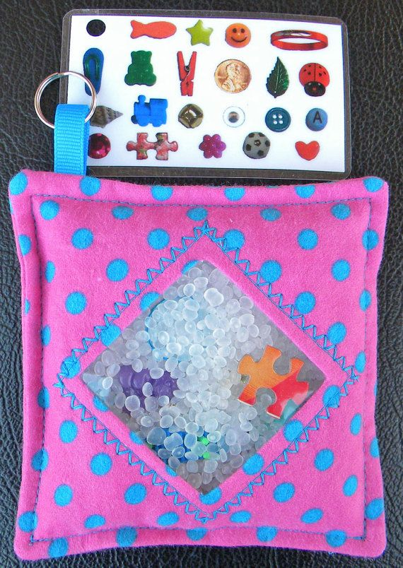 I Spy Bag - Mini with Sewn Word List and Detachable Picture/Word List- Pink with Turquoise Polka Dots