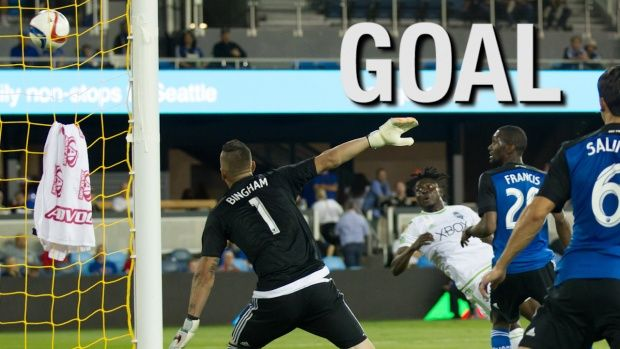 Seattle Sounders FC 1, San Jose Earthquakes 1 (Sat. Sept. 12, away): forward Obafemi Martins pulls the Sounders even with the San Jose Earthquakes, following an overhead strike in the 82nd minute of the match.