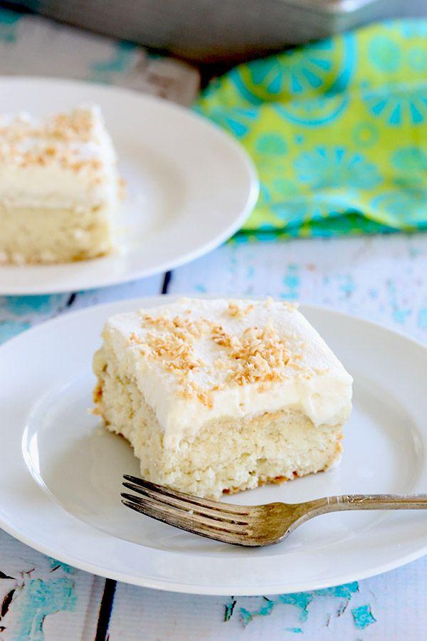 Healthy sugar-free coconut cream poke cake recipe