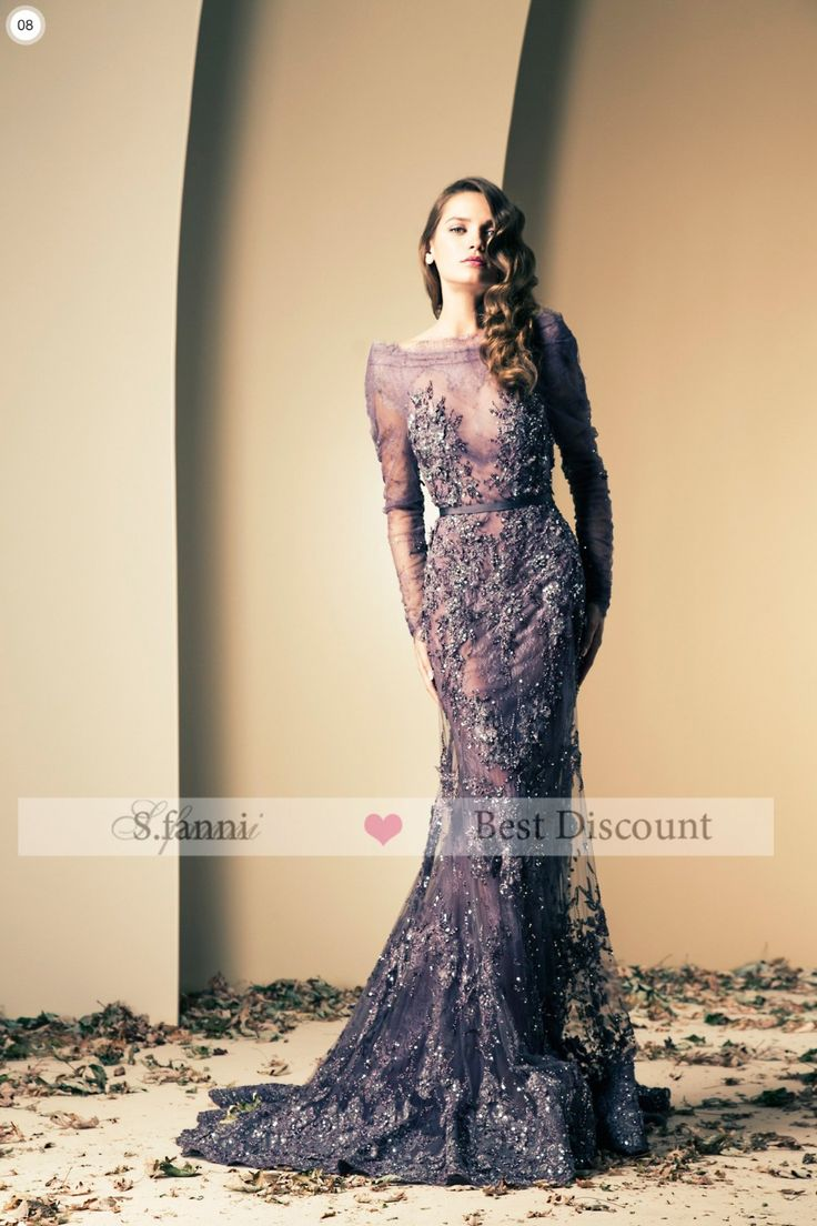 2014 New Arrival Grape Purple Tulle and Lace Sheath Long Sleeve Beaded Luxury Fashion Celebrity Evening Dresses Long $120.51