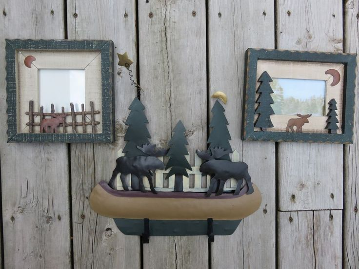 METAL MOOSE WALL PLAQUE + 2 PHOTO FRAMES DECOR COTTAGE HOME 14X12 W HOOKS NEW