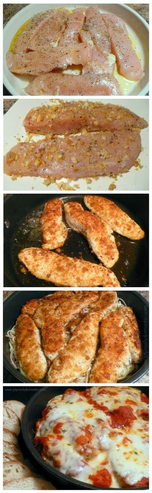 Skillet Chicken Parmesan Over Pasta   Ingredients:     2 plump chicken breasts, cut in half diagonally and each thin half cut into 2 stri...