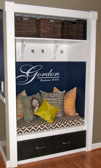 Closet makeover: Not the colors but Love the last name and chevron bench!