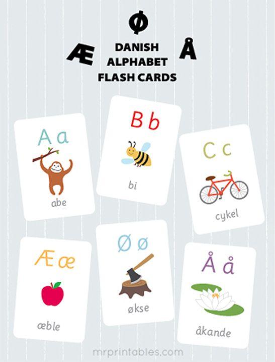 Danish Alphabet Flash Cards - Mr Printables