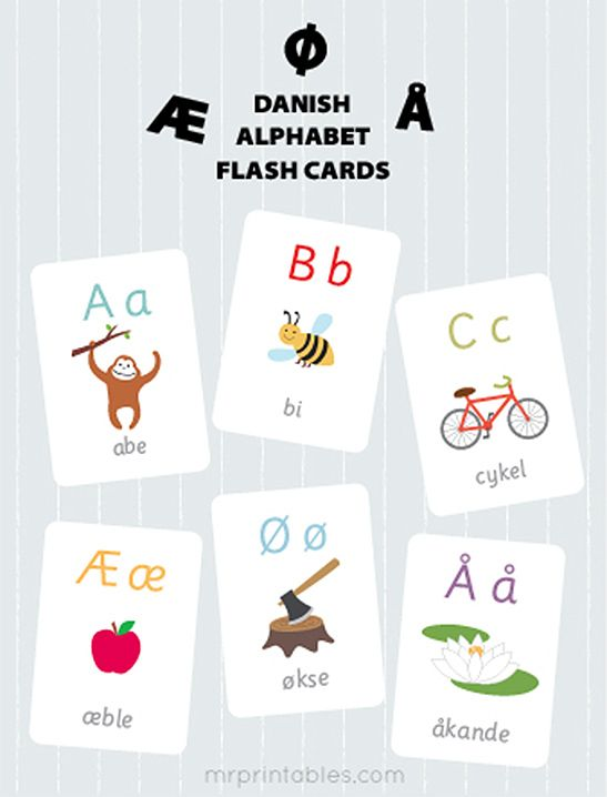 Danish Alphabet Flash Cards - Mr Printables