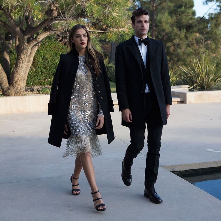 Sistine Stallone and Ivan Olita embody the classic glamour of Hollywood in their Fay total looks.