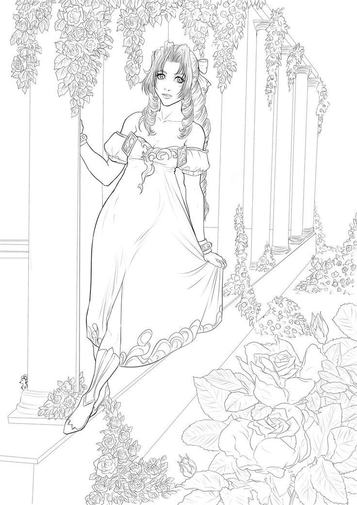 Aerith - lines by Autumn-Sacura @ deviantART: