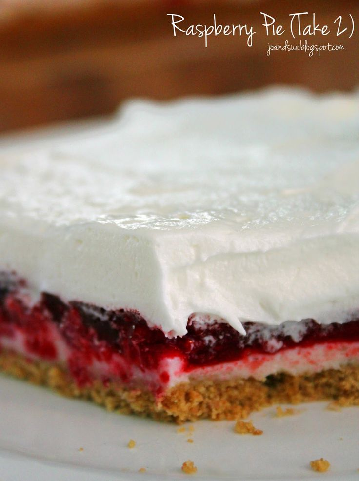 Jo and Sue: Raspberry Pie (Take 2) - only 195 calories, no bake, 15 minutes to make. Perfect for Canada Day, Valentine's Day, Christmas.....