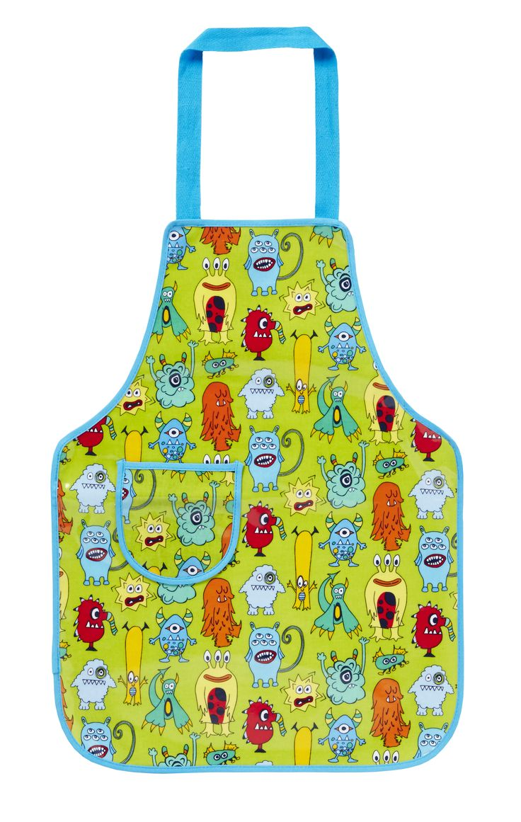 Monsters Childrens PVC Apron by Ulster Weavers. A quirky green apron with illustrated monsters to keep the kids clean when in the kitchen.