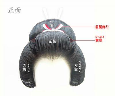 日本髪は、前髪・左右鬢・髷・髱の5つのパーツで構成されています。結い上げる順番は、1)根(ね)2)髱(たぼ または つと)3)右鬢(みぎびん)4)左鬢(ひだりびん)5)前髪(まえがみ)6)髷(まげ)です。紅白の「前髪飾り」「根飾り」と、白い