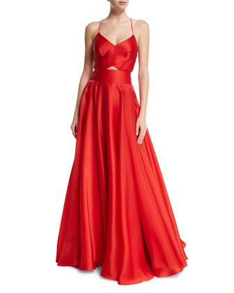 Sleeveless+Crisscross-Bodice+Organza+Ball+Gown++by+Milly+at+Neiman+Marcus.