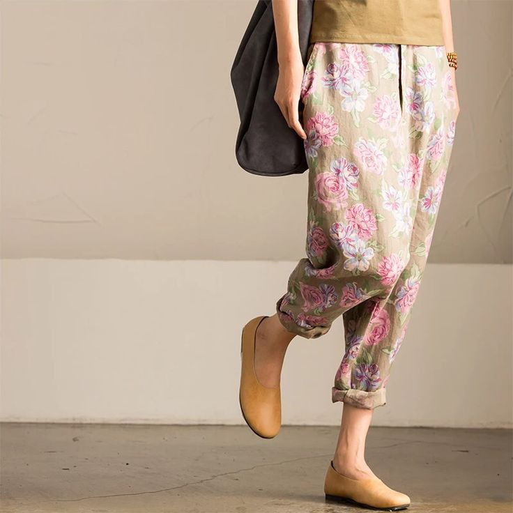 Pin flower trousers women clothes
