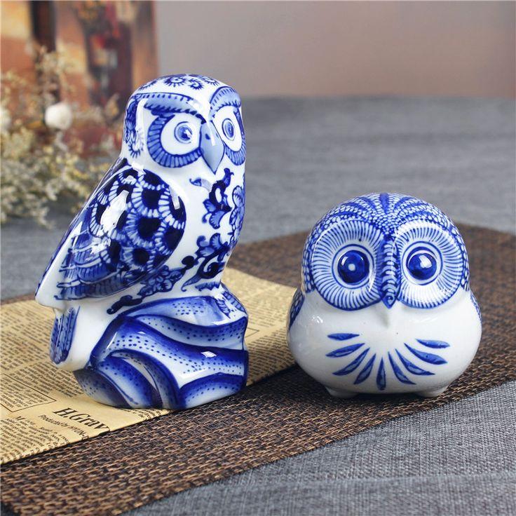 Estátua estatueta coruja animais de cerâmica de porcelana azul e branco porcelana Deoration ornamento arte e artesanato acessórios embelezamento(China (Mainland))