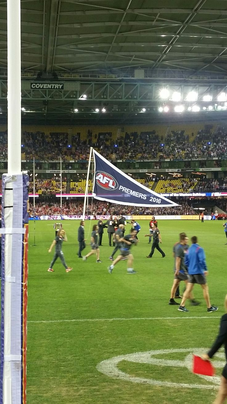 Western Bulldogs 2016 Premiership flag unfurled at Etihad Stadium on the 31st March 2017, against Sydney Swans. We won that game too
