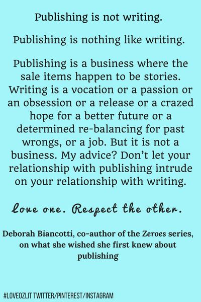 #LoveOzLit: Deborah Biancotti on the difference between publishing and writing. Read more: http://editingeverything.com/blog/2017/01/03/loveozlit-deborah-biancotti-difference-publishing-writing/