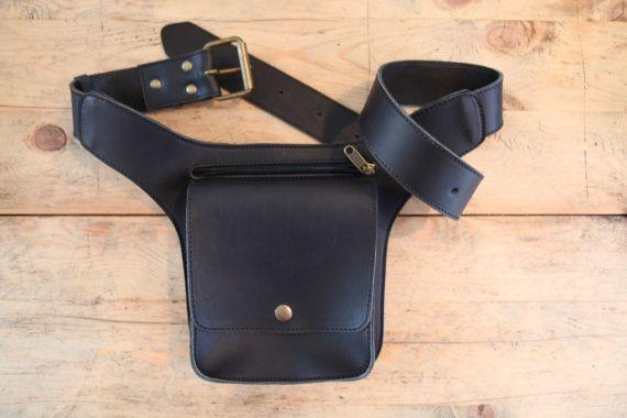 Black Leather FANNY PACK // Mens Leather Belt Bag // by KURTIK