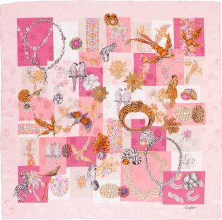 Precious fauna and flora motif scarf