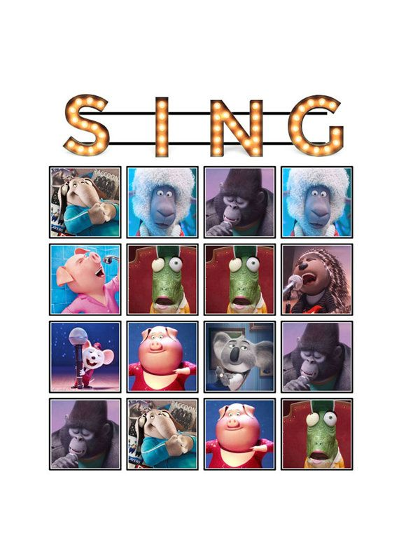 BINGO Birthday Party Game for SING MOVIE theme by ChamPartyPerfect