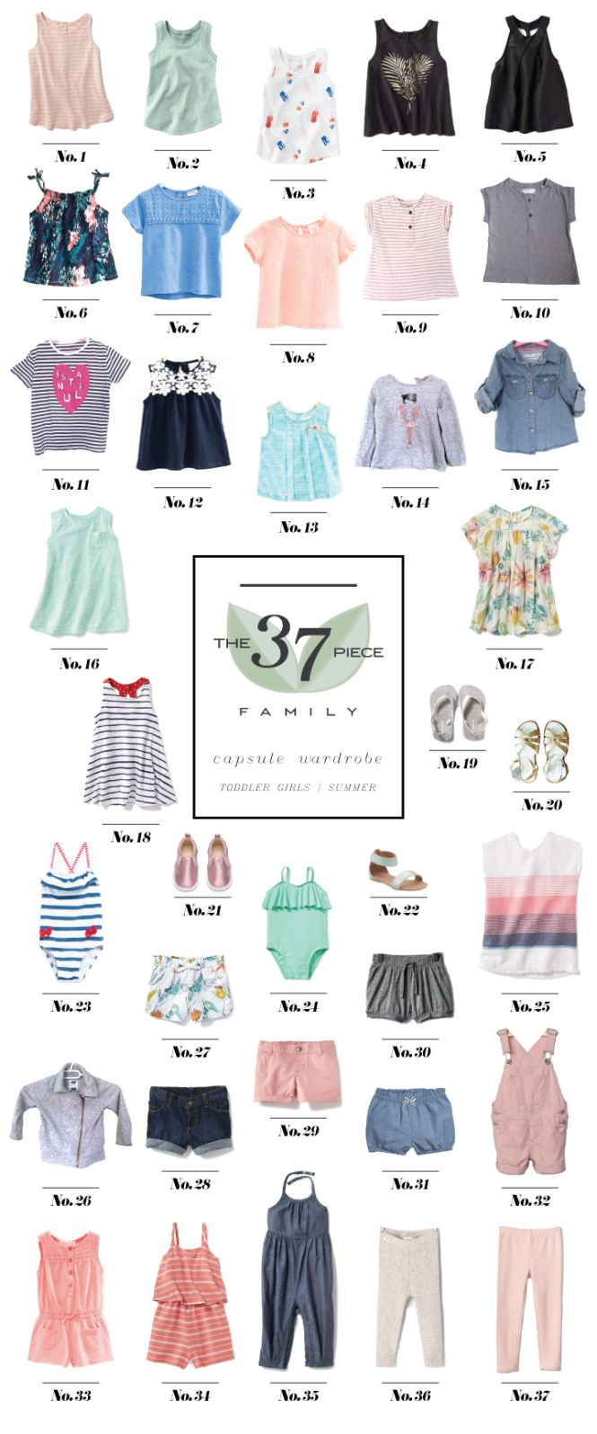 Nora's Summer Capsule Wardrobe:: Toddler Girls - The 37 Piece Family