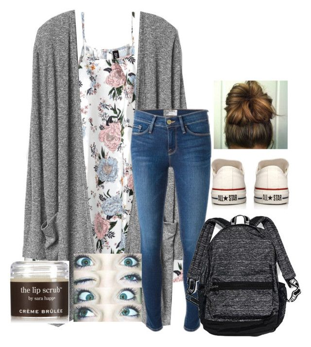 """""""just got done with milestones"""" by duhitsallison ❤ liked on Polyvore featuring Frame, Converse, Victoria's Secret and Sara Happ"""