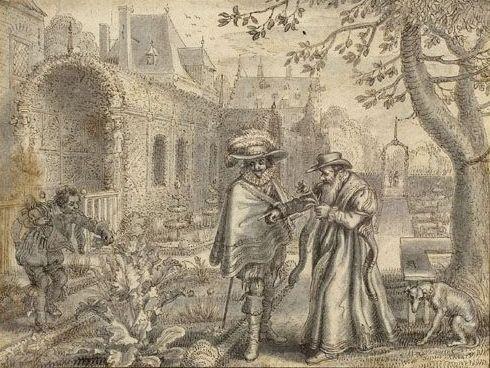 Adriaen van de Venne - Een geleerde en een voornaam heer in een tuin
