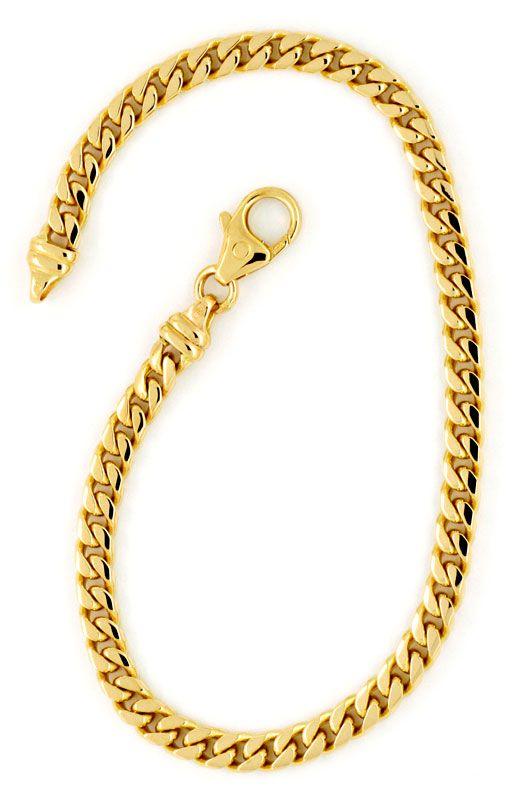 Foto 3, Massives gewölbtes Flachpanzer Gold-Armband, 14K Luxus!, K2179