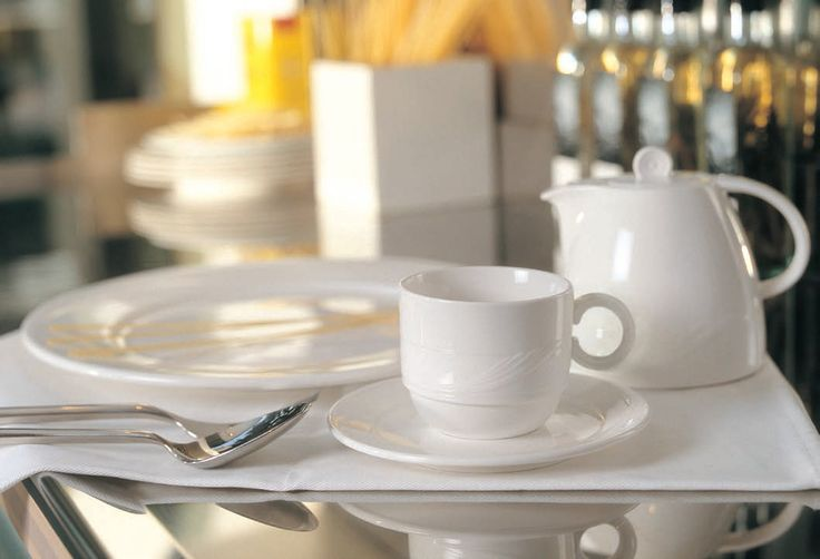 Prima Maxadura Whiteware Crockery - Stacking Cup, Saucer, Dinner Plate and Teapot